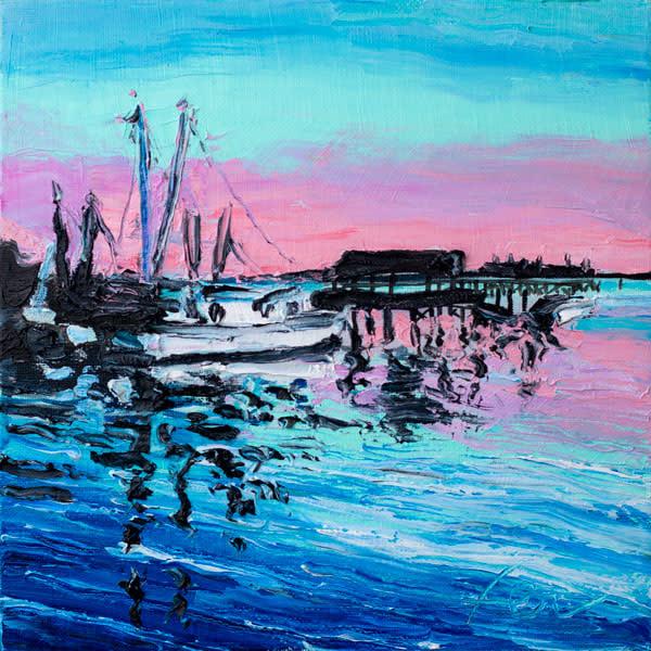 Shrimp Boats at Shem Creek Sunset Art