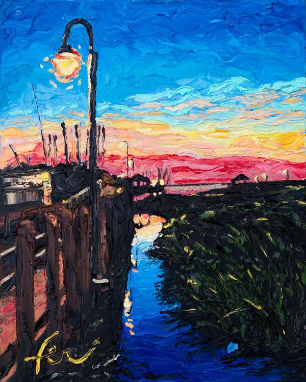 Lamp Post and Sunset at Shem Creek Park Art
