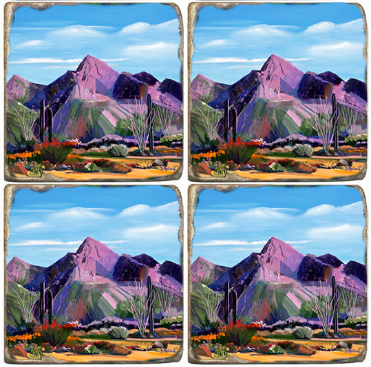 Pink Ocotillo at Pusch Ridge Coaster Set