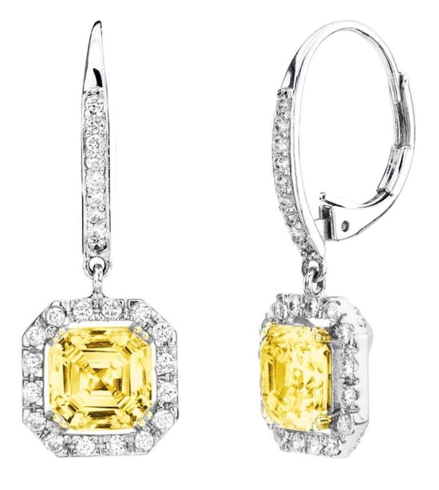 fancey light yellow canaring drop earrings 1