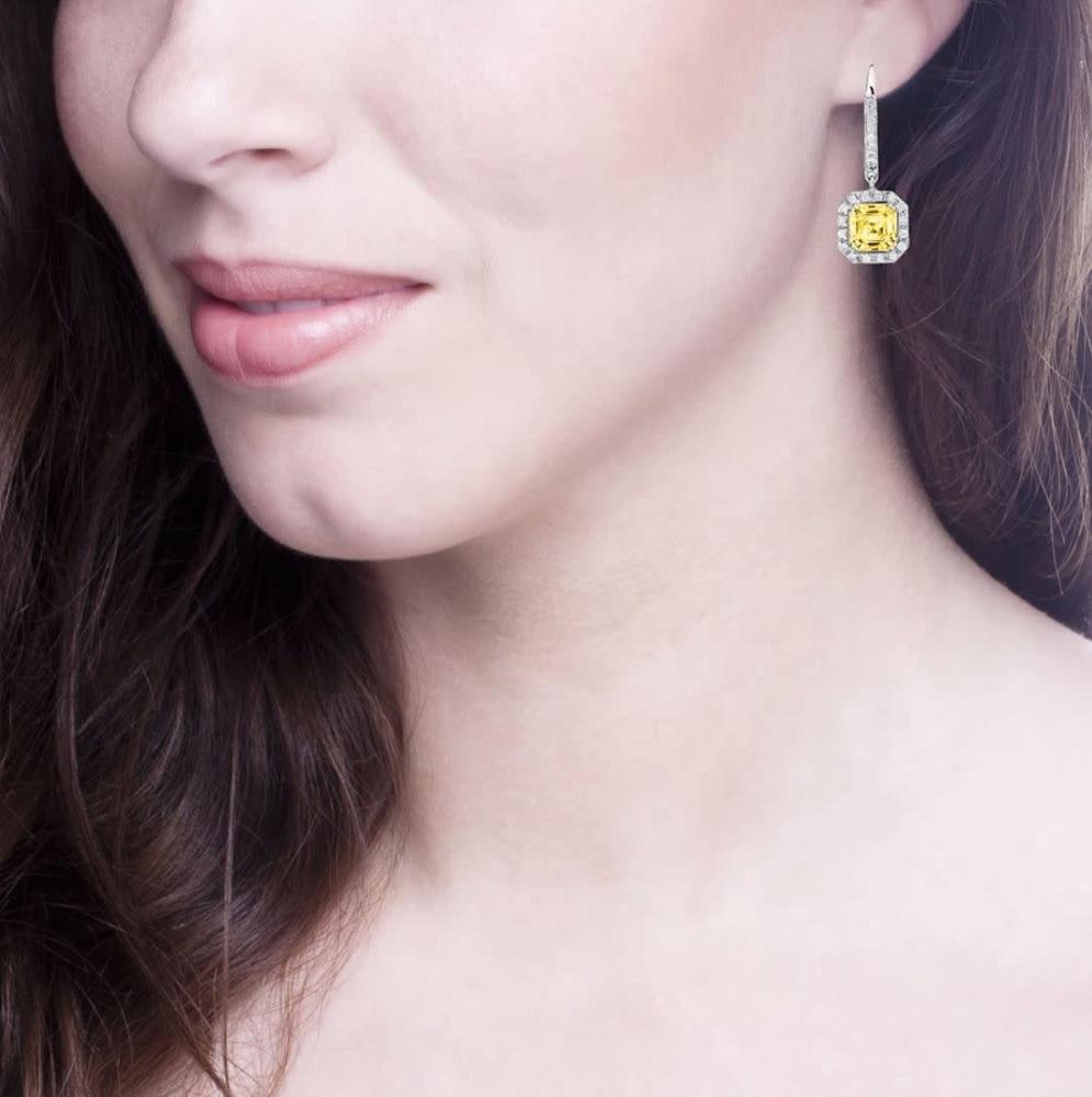fancy light yellow canaring drop earrings 3