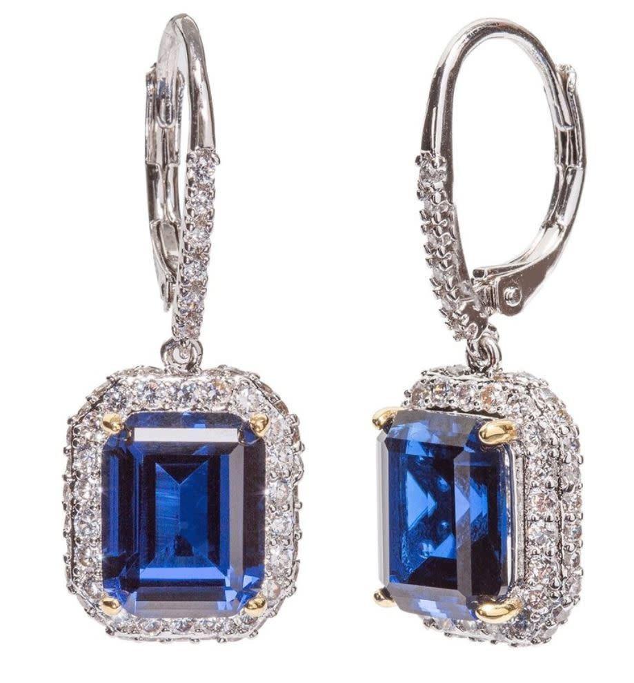 sapphire hued emerald cut drops 1