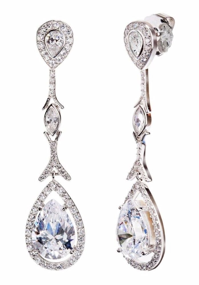 silver couture teardrops with pear shaped post 1