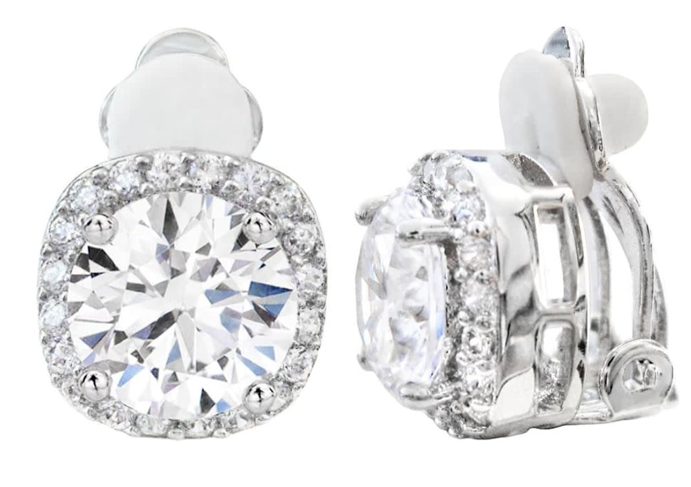 silver 3 carat cushion cut clip earrings