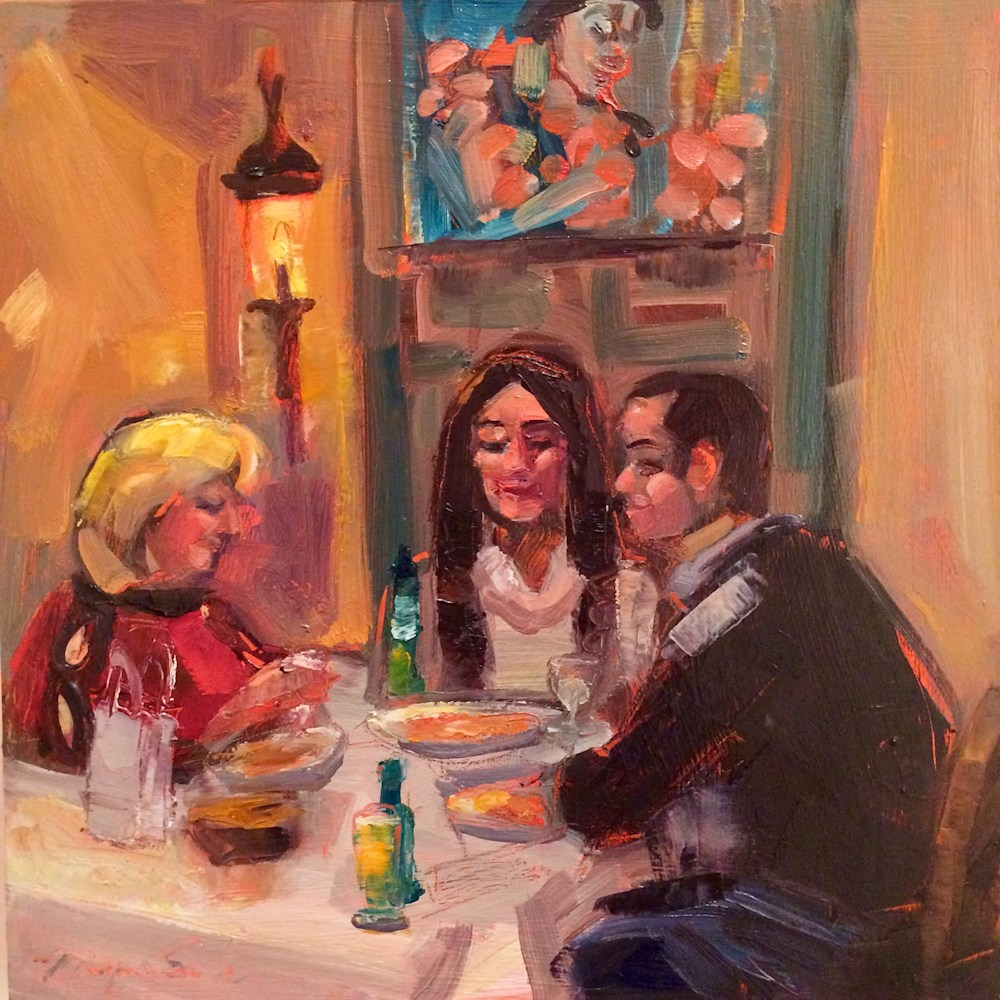 "Birthday Celebration, Oil and mixed media on wood, 12""x12"""