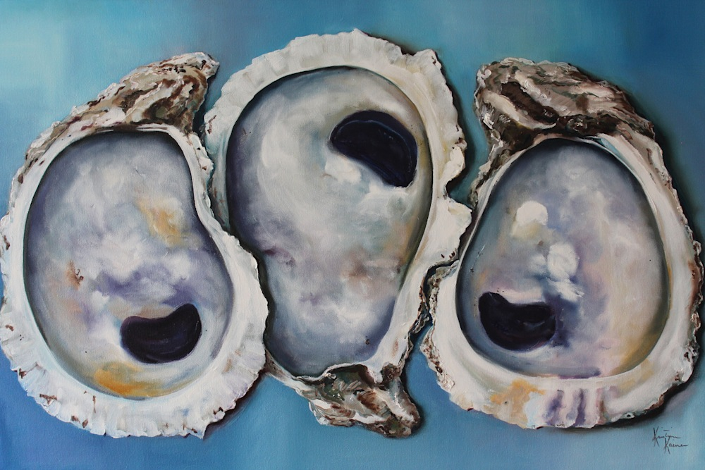 Oyster Shells on Blue 24x36