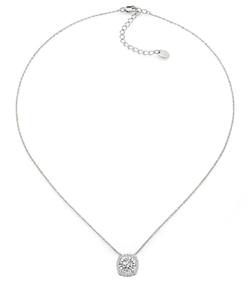 sterling silver 3 carat cushion cut floating necklace c
