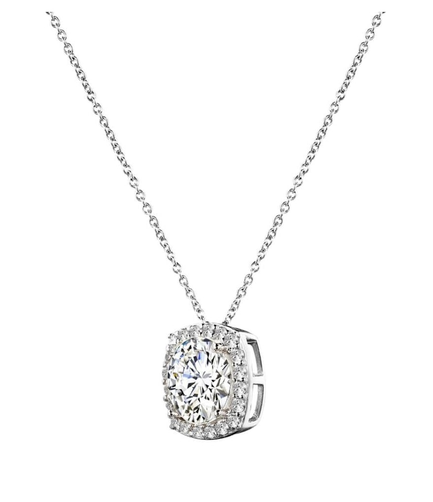 sterling silver 3 carat cushion cut floating necklace b