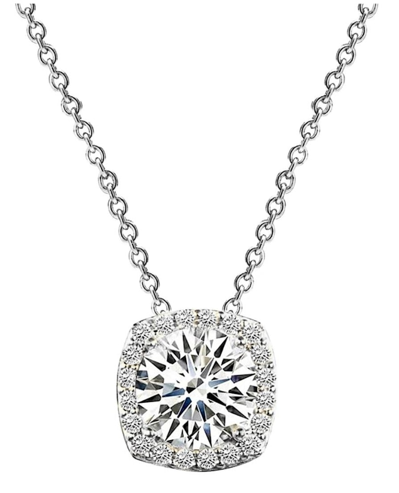 sterling silver 3 carat cushion cut floating necklace a