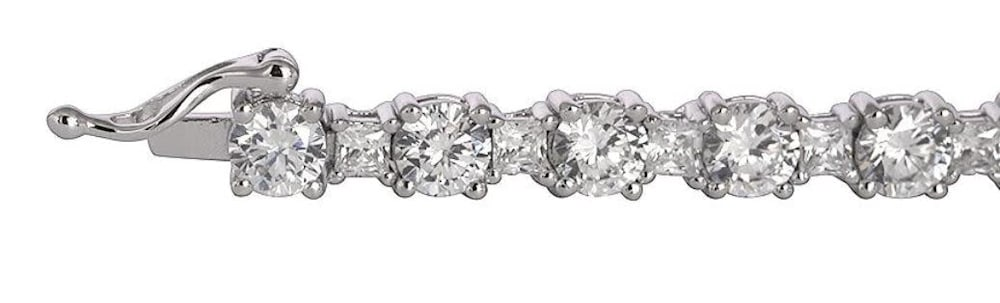 silver brilliant princess cut tennis bracelet b