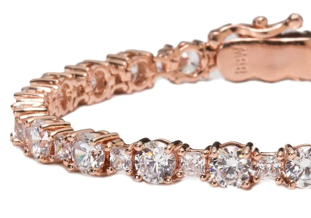 rose gold princess cut tennis bracelet c