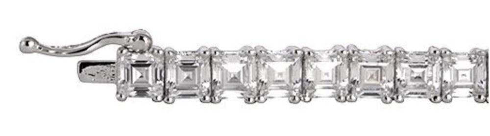 silver asscher cut tennis bracelet b