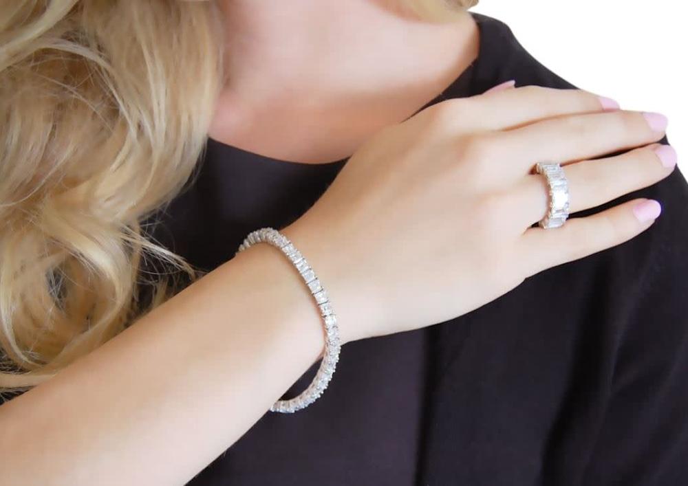 silver asscher cut tennis bracelet c