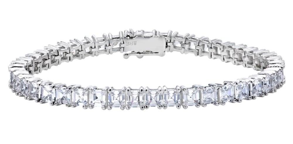 silver asscher cut tennis bracelet a