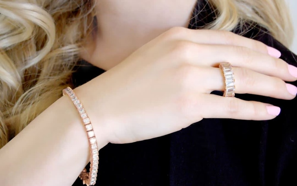 rose gold asscher tennis bracelet b