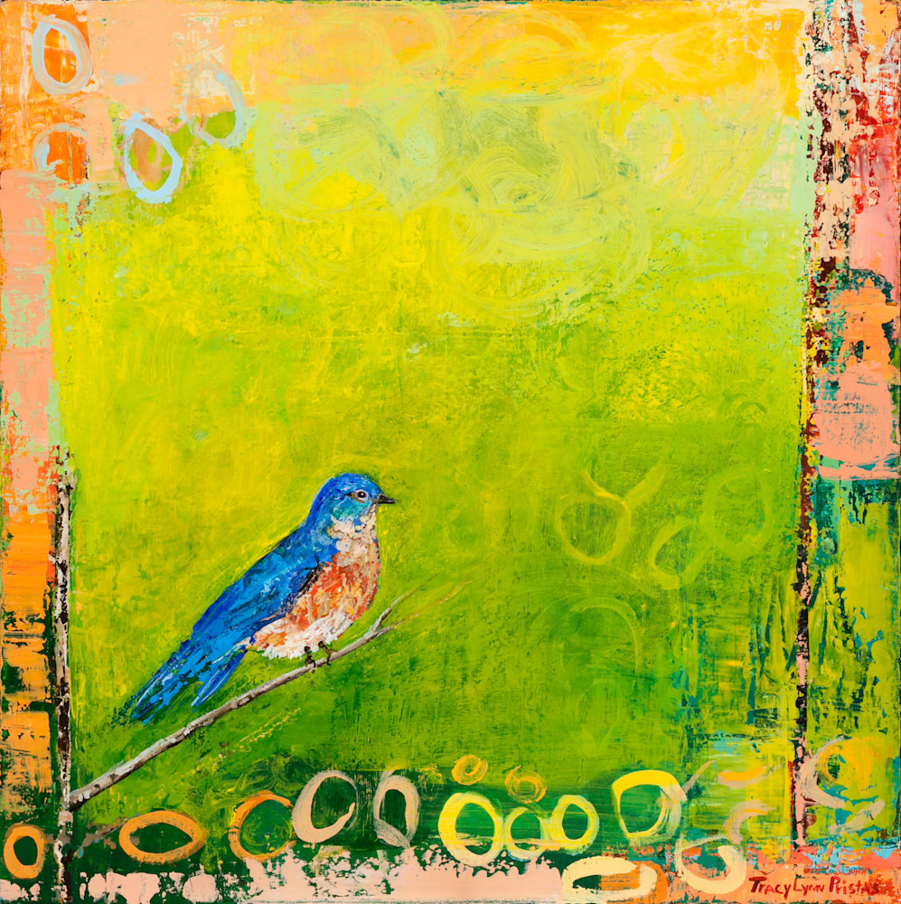 Tracy Lynn Pristas Expected Converstaions Framed Original Bluebird Painting