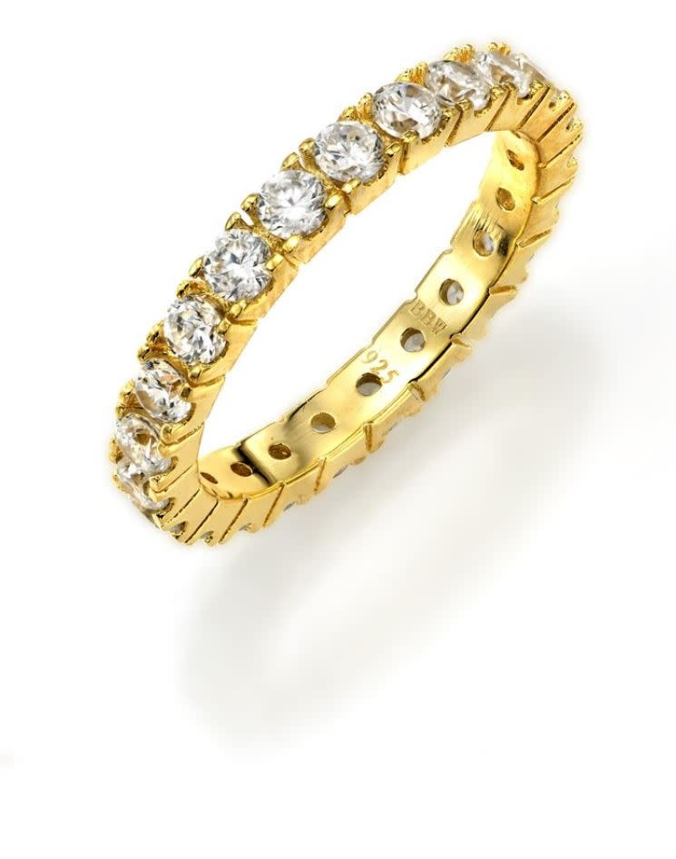 18 kt gold plated thin round eternity b