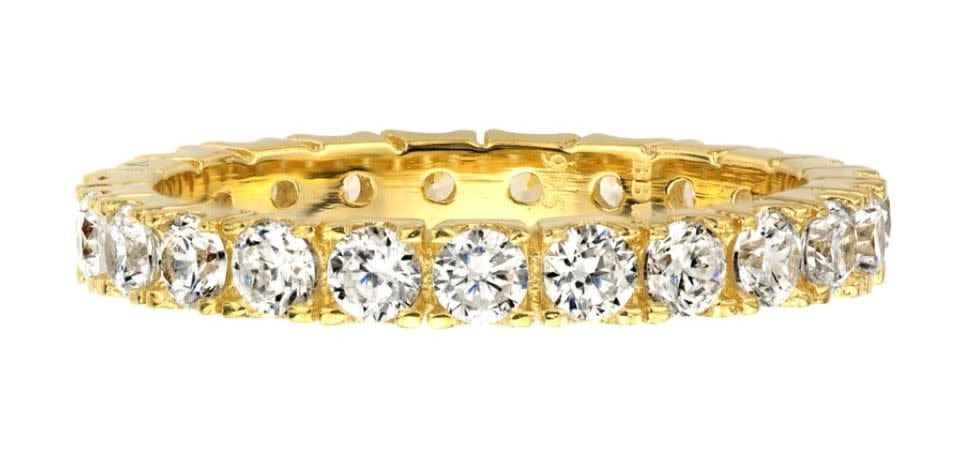 18 kt gold plated thin round eternity a