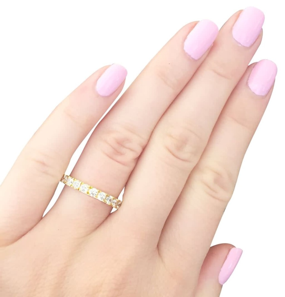 18 kt gold plated thin round eternity d