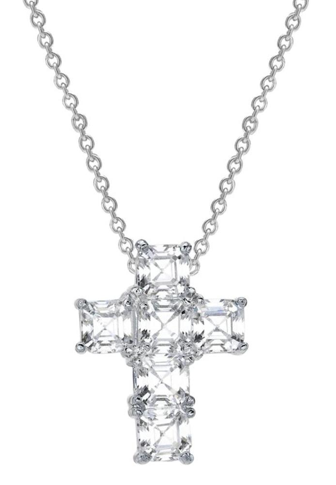 silver asscher cut canterbury cross