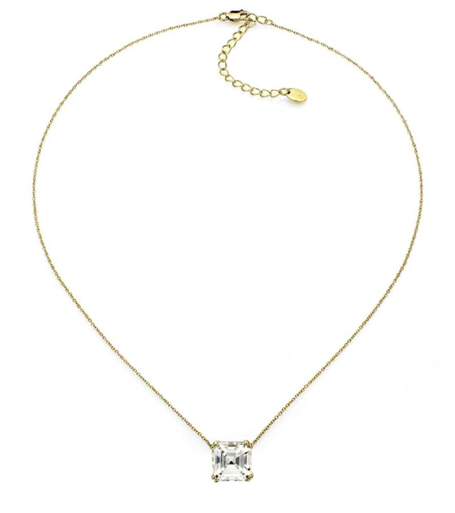 18 kgp 2 carat solitaire asscher cut necklace c