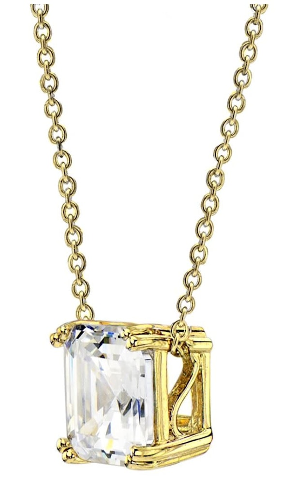 18 kgp 2 carat solitaire asscher cut necklace b