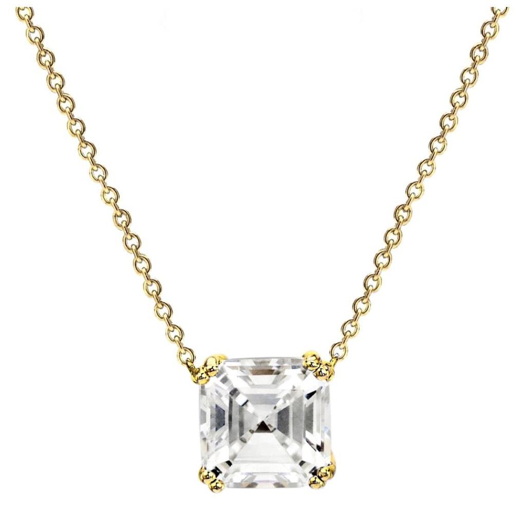 18 kgp 2 carat solitaire asscher cut necklace a