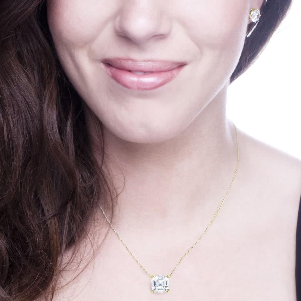 18 kgp 2 carat solitaire asscher cut necklace d