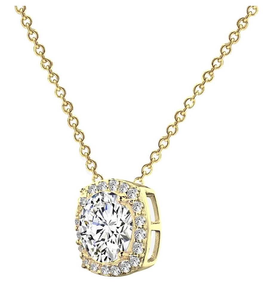 18 kgp 3 carat cushion halo necklace b