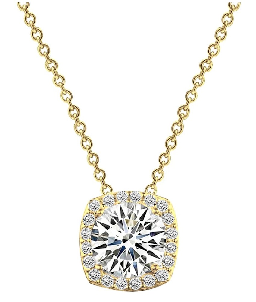 18 kgp 3 carat cushion halo necklace a