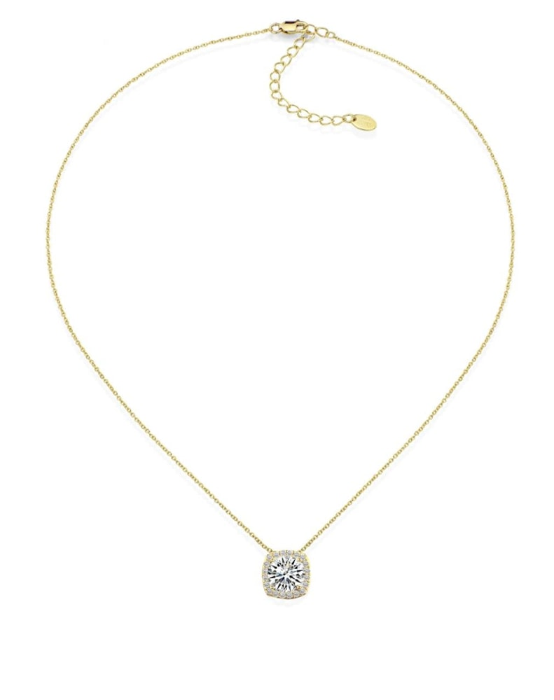 18 kgp 3 carat cushion halo necklace c