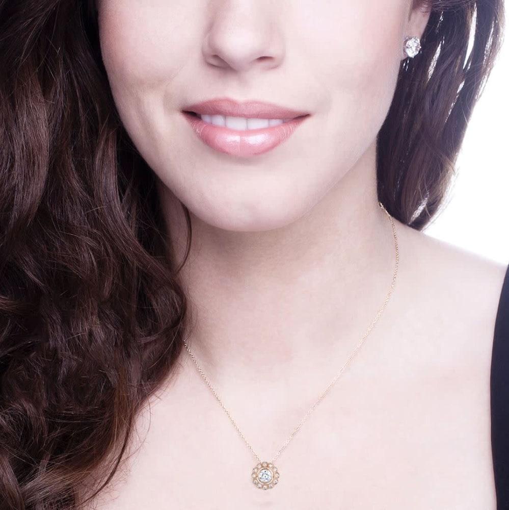 rose gold lace necklace d