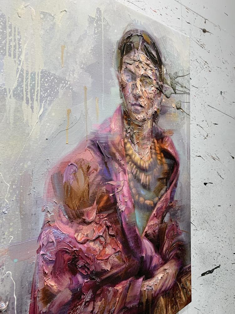 Frida oil on print2