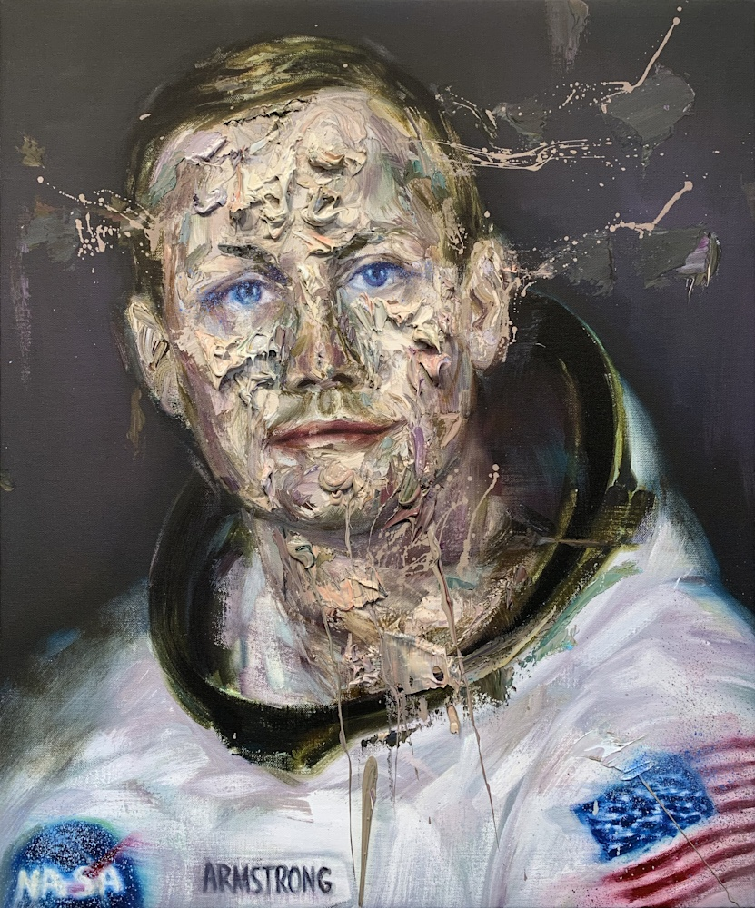 Neil Armstrong oil on print