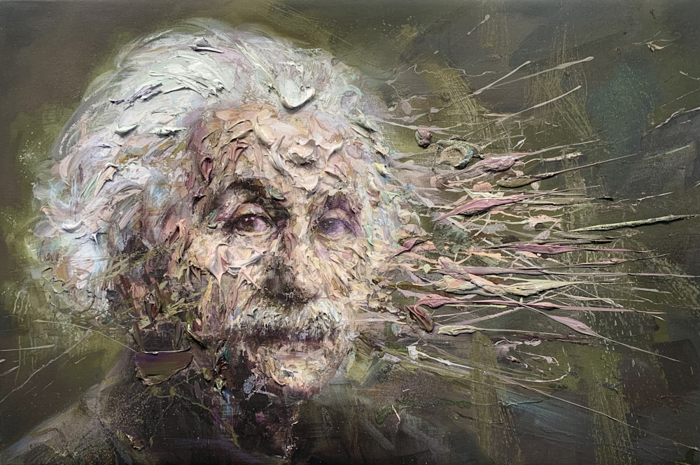 Einstein oil on print