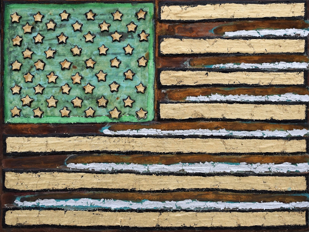 Rusty American Flag Painting Paul Zepeda