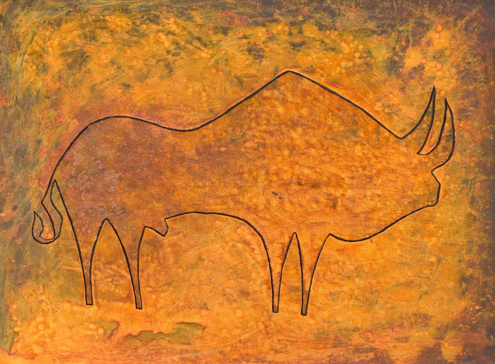 oxidized rusty bull painting paul zepeda