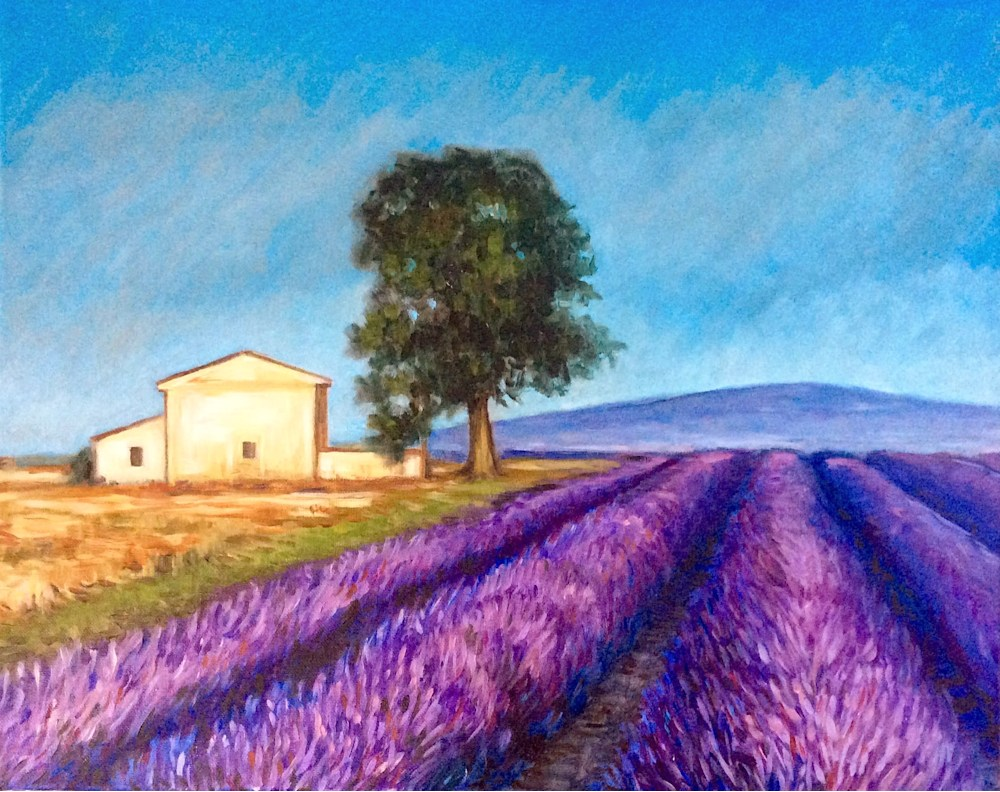 Lavender fields at high noon Romantic Fine Art Oil Painting