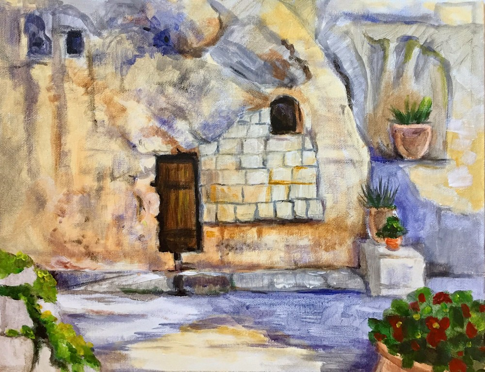 The Garden Tomb on Holy Saturday Fine art Landscape Painting by Hilary J England