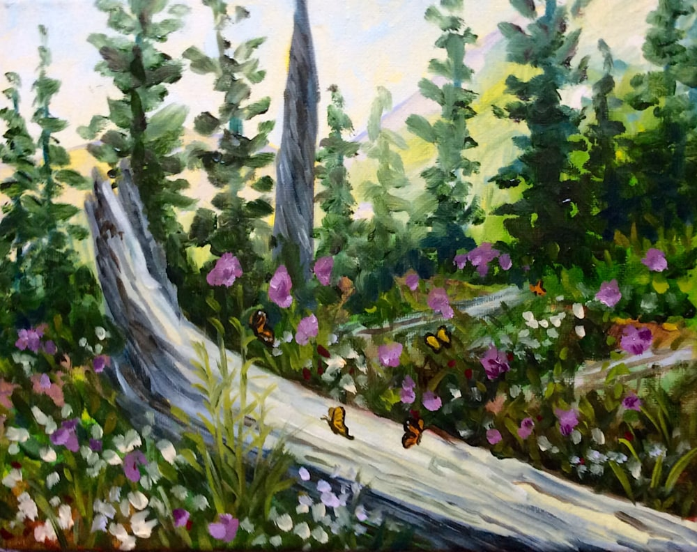 Butterflies and Wildflowers Original Romantic Artwork Plein Air Landscape Framed Oil Painting