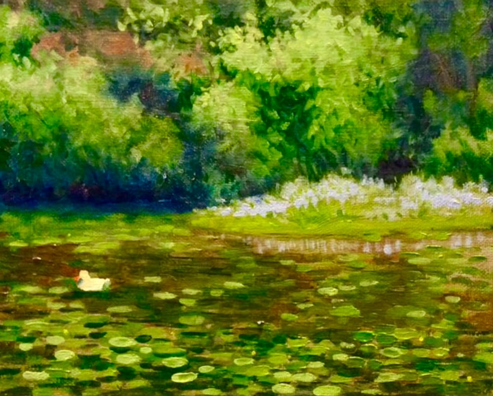 Little Duck in the Lilypond Original Romantic Fine Art Landscape Oil painting