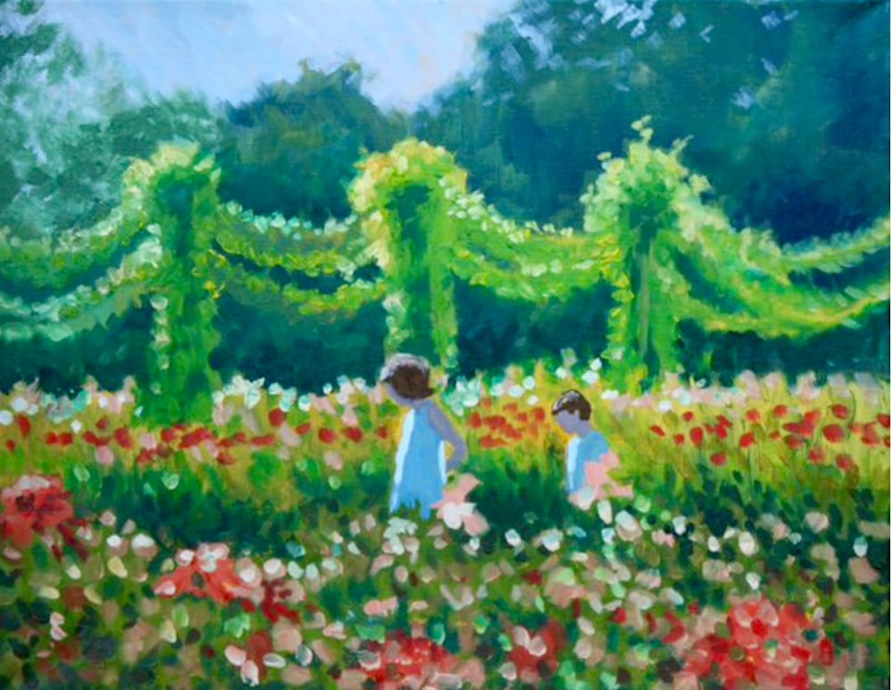 Children in the Flower Garden at Twilight Original Romantic Fine Art Landscape Oil Painting