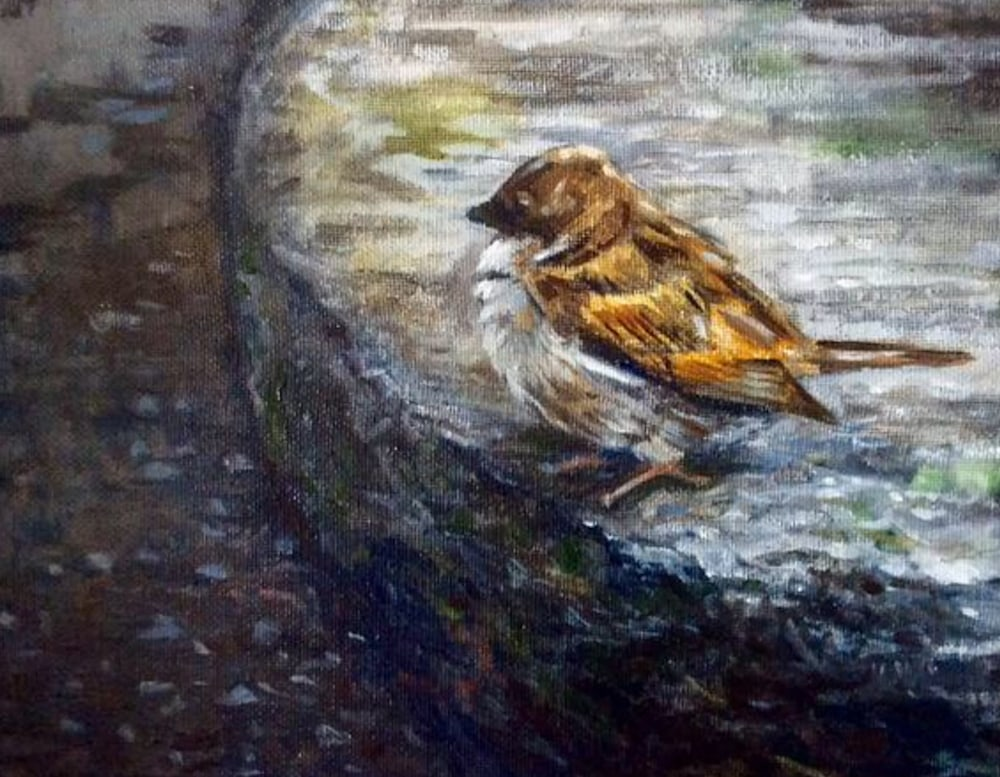 Bird Art Wildlife Artwork After the Rain Original Romantic Fine Art Landscape Oil painting