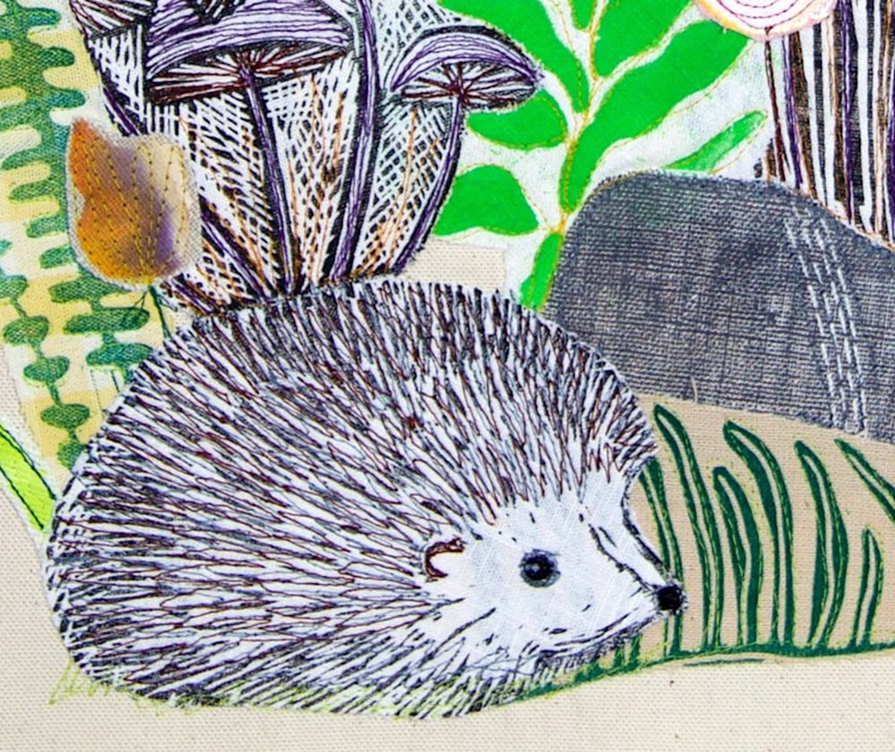 Forest Friends collage hedgehog