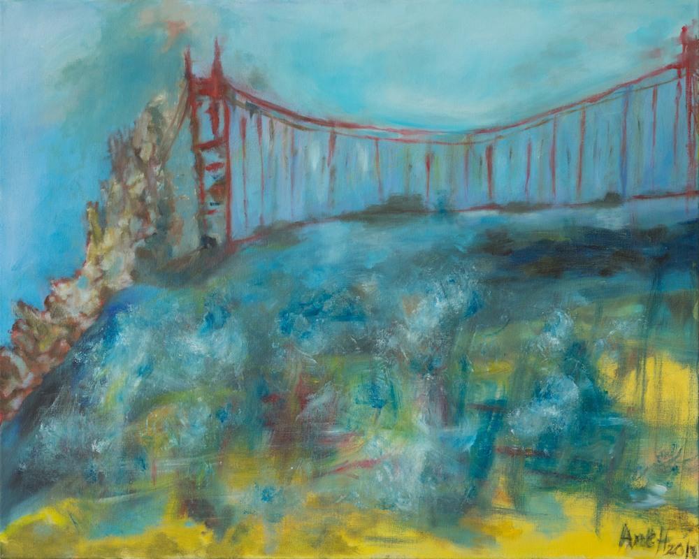 Angels visiting Golden Gate Bridge   Ane Howard paintings 02