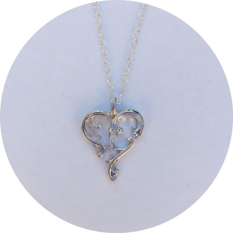 Beyond the Boundaries Silver Heart Art Pendant