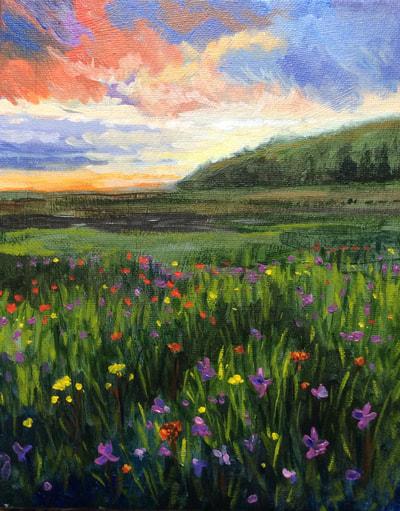Wildflowers at Dusk Original Artwork by Hilary J. England