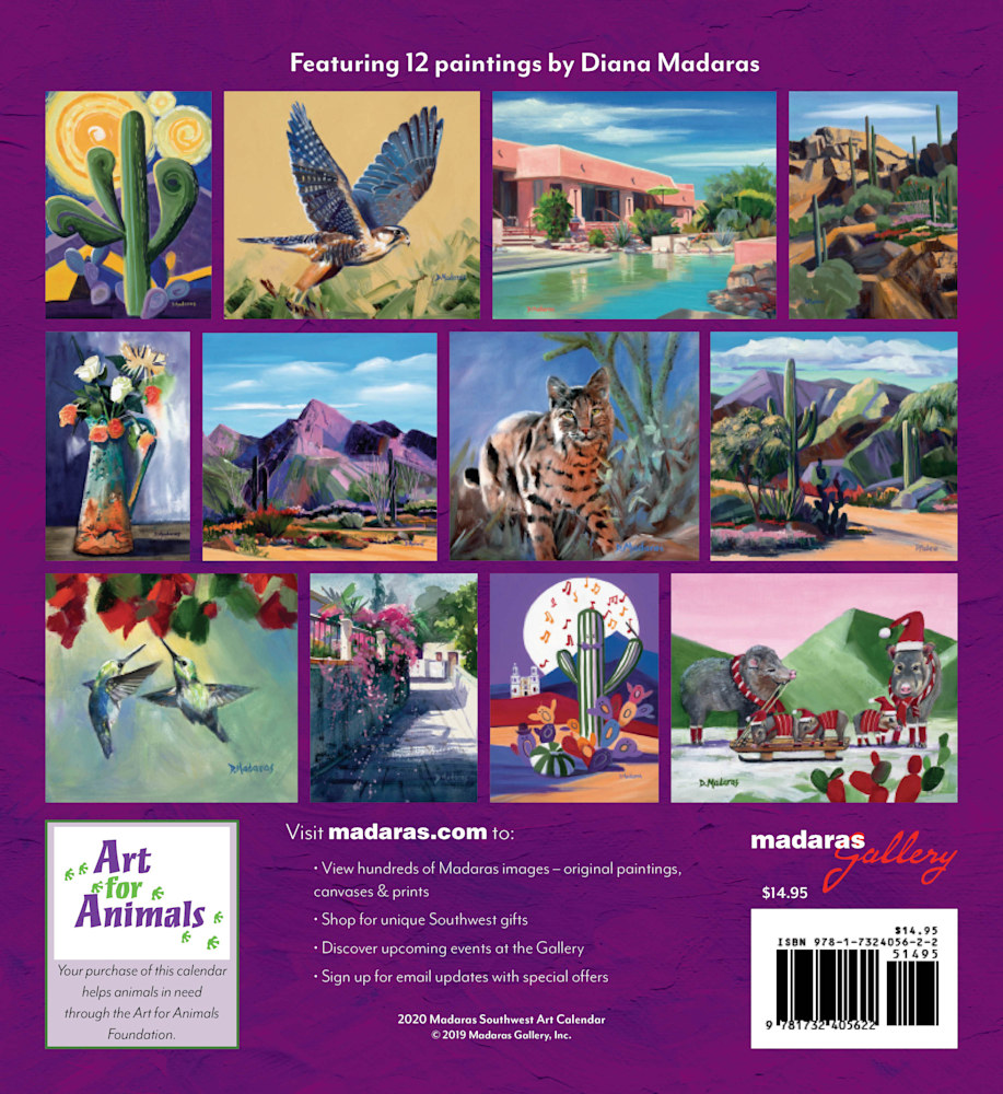 Southwest Art Wall Calendar 2020 Back