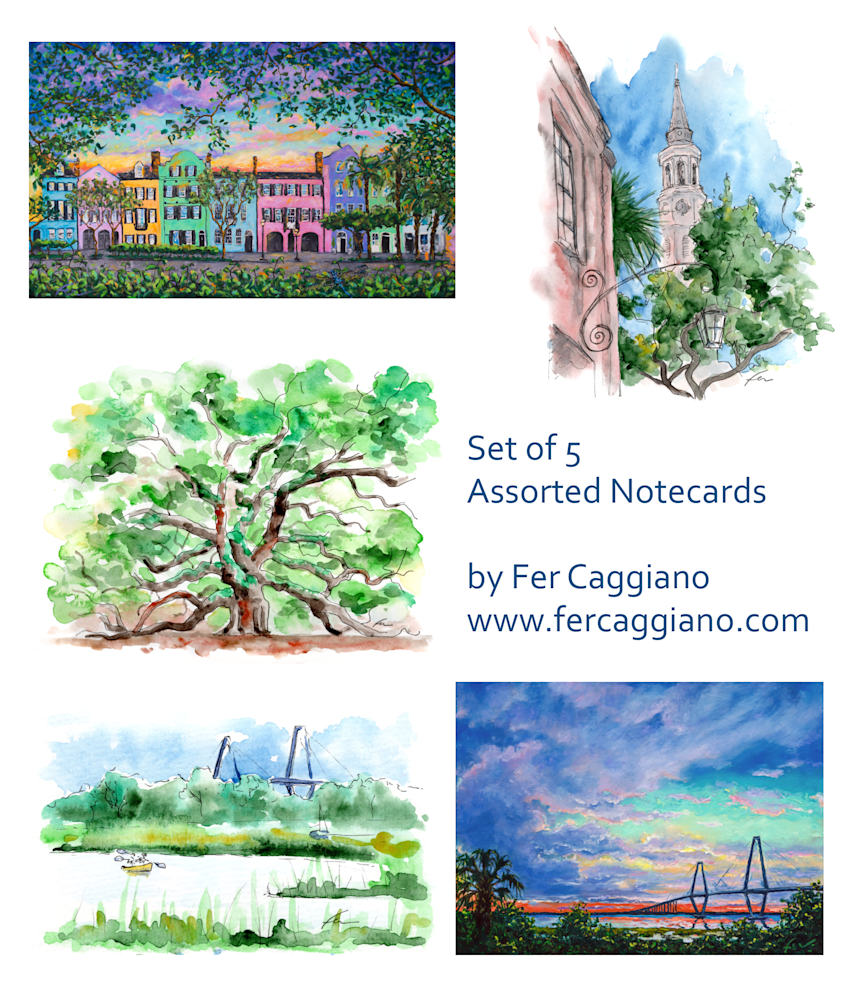 Notecards Charleston Oil and Watercolor Painting Set