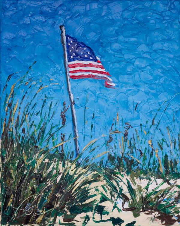 American Flag at the beach dunes Art